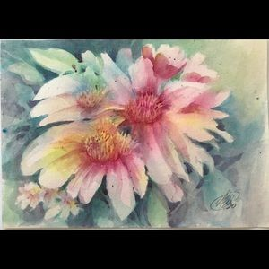 Original Painting flower garden watercolor art
